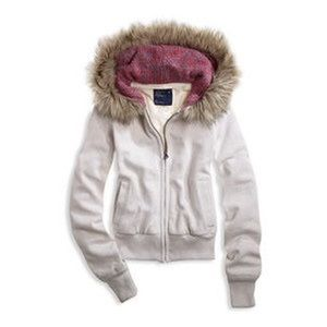 American Eagle fur hood zip up jacket sweatshirt